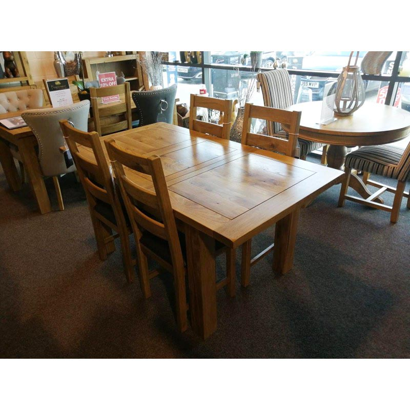 The Loxley Rustic Oak Small Extending Dining Table With 4 Oak Chairs