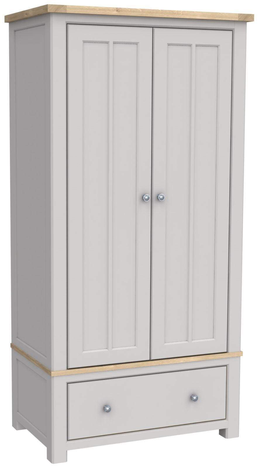 Greystone Grey Painted W White Washed Oak Top Gents 2 Door Wardrobe W Drawer Progressive Furnishings