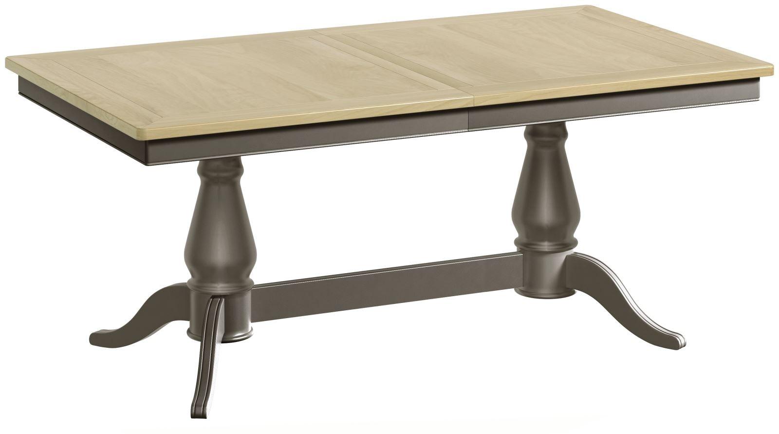 Penelope Grey Painted W Oak Top Twin Pedestal Extending Dining Table Progressive Furnishings