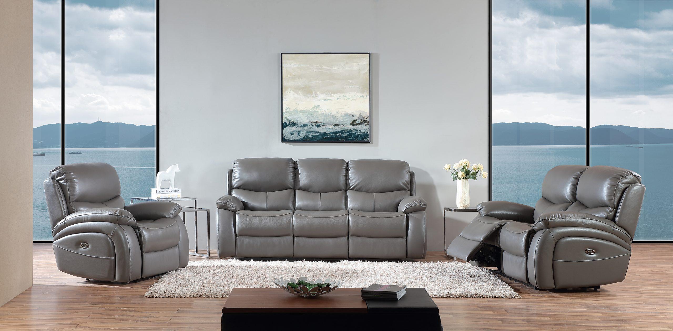 - Chessington - Grey Thick Semi-Aniline Genuine Leather Sofa