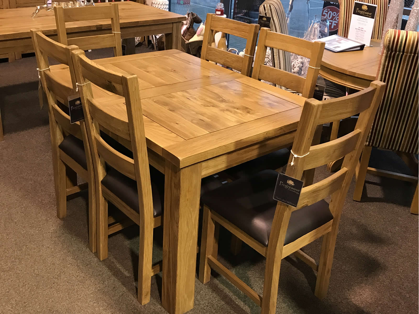 Loxley Rustic Oak Small Extending Dining Table With 6 X Oak Chairs Progressive Furnishings